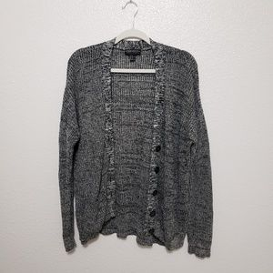 Gray and black cardigan